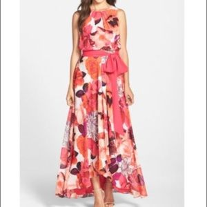Eliza J  Belted Chiffon floral maxi  dress